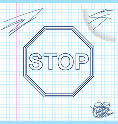 stop sign line sketch icon isolated on white vector image