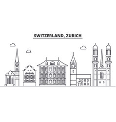 Switzerland zurich architecture line skyline vector