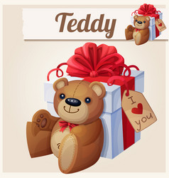 teddy bear and big gift box with red bow vector image