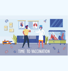 time to vaccination header and scene in hospital vector image