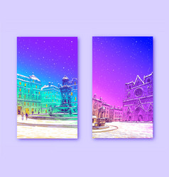 trendy cover template winter city france lyon vector image