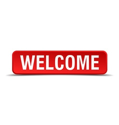 Welcome red 3d square button isolated on white vector image