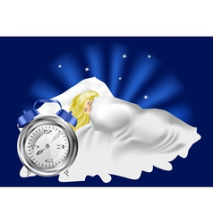 woman in bed and alarm clock vector image
