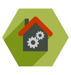 Workhouse Flat Hexagon Icon with Long Shadow vector