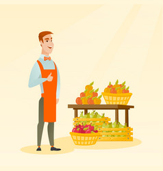 young caucasian seller giving thumb up vector image