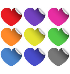 heart stickers in different colors vector image
