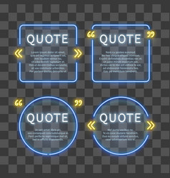 neon light box 80s frames with quote marks vector image vector image