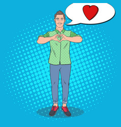 pop art young man showing heart hand sign vector image vector image