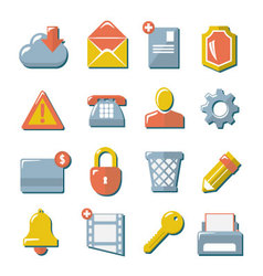 Set flat icons of web media internet mobile co vector