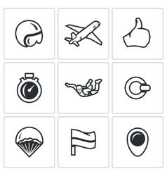Set of Skydiving Icons Helmet Plane vector image