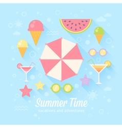 Summer flat card vector image vector image