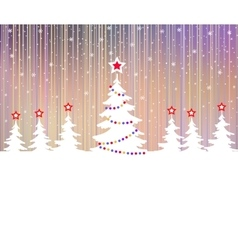 Christmas tree with star and garlands vector image