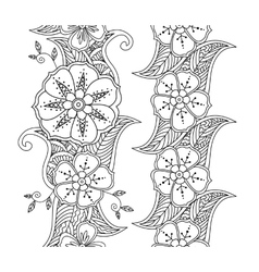 Collection of two vertical monochrome seamless vector image vector image