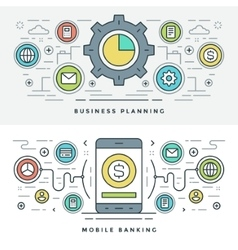 Flat line Business Planning and Banking vector image vector image
