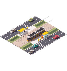 isometric tram station vector image vector image