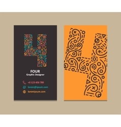 Number 4 Logo Business card vector image vector image