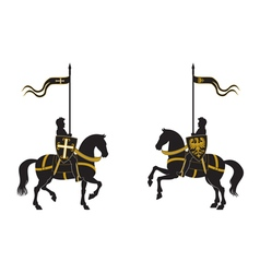 Silhouettes of two knights vector