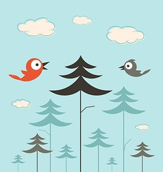 Trees Birds and Clouds Retro Flat Design vector image vector image
