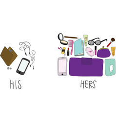 Comparing of His and Hers Stuff in bag vector image
