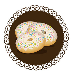 Decorative frame with set donuts with strawberry vector