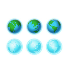 different earth sides isolated on white vector image vector image