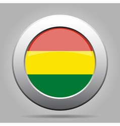 Flag of bolivia shiny metal gray round button vector