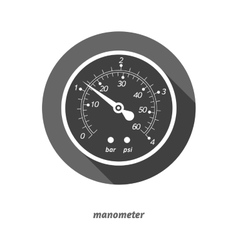 flat styled manometer with vector image