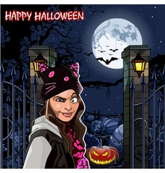 Girl in Halloween night at the field with pumpkins vector image vector image