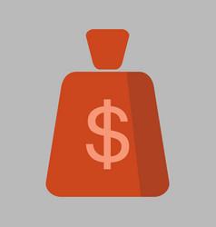 money bag square flat icon vector image