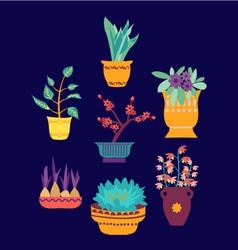 plant on pot botanical set vector image
