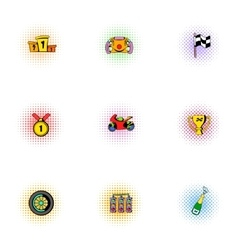 Race and awarding icons set pop-art style vector image vector image