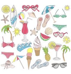 Summer beach elements set vector image