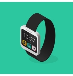 White smart watch isometric style with black vector image