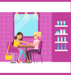 woman getting a hand massage in beauty salon vector image