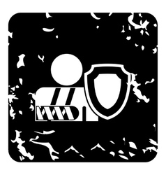 Broken hand and safety shield icon grunge style vector image