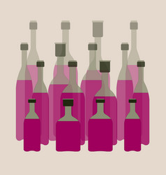 collection of glass bottles with drinks on a vector image