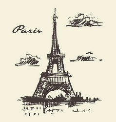 eiffel tower paris france vintage hand drawn vector image