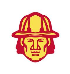 fireman head front retro vector image vector image