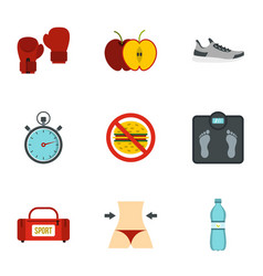 fitness and diet icons set flat style vector image