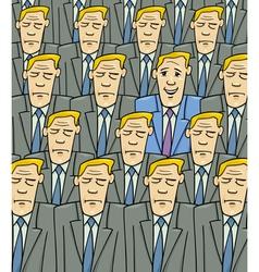 happy man in the sad crowd vector image