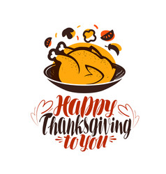 happy thanksgiving to you greeting card vector image vector image