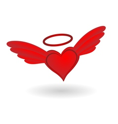 Heart with Wings and Halo vector image vector image