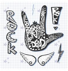 rock hand sign silhouette print grunge zentangle vector image