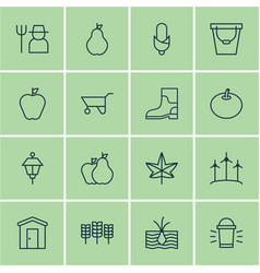 Set of 16 planting icons includes maize radish vector