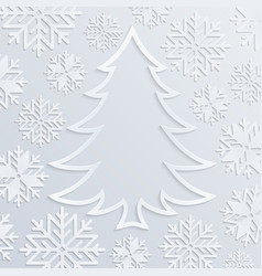 white paper christmas tree with snowflakes vector image vector image