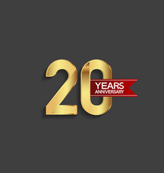 20 years anniversary simple design with golden vector
