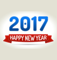2017 - happy new year- red ribbon with shadow on vector