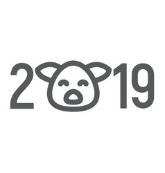 2019 pig year line icon celebration vector image