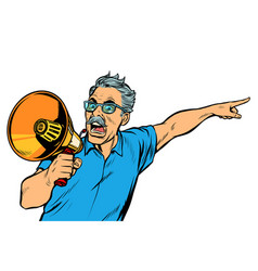 Angry elderly man with a megaphone vector