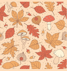 autumn pattern with oak maple leaves acorns vector image